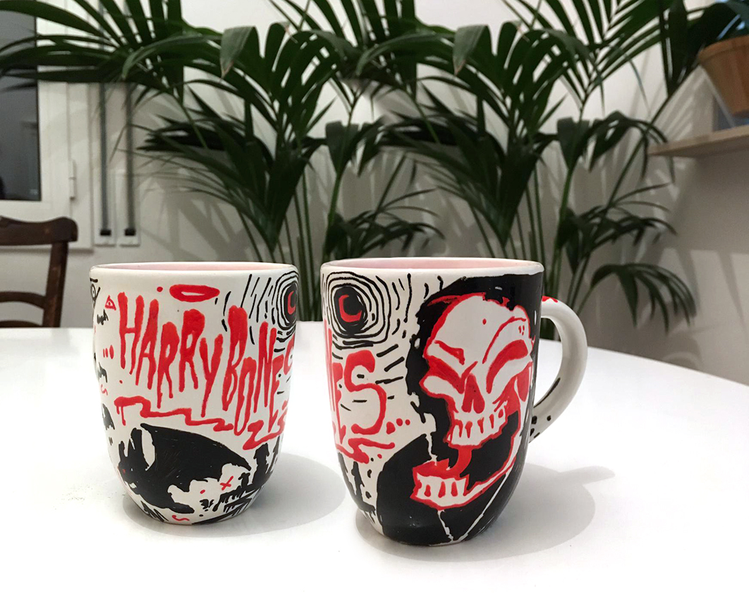 harrybones cowboy desert portrait procreate barcelona spain illustration photoshop mugs cup skull red black