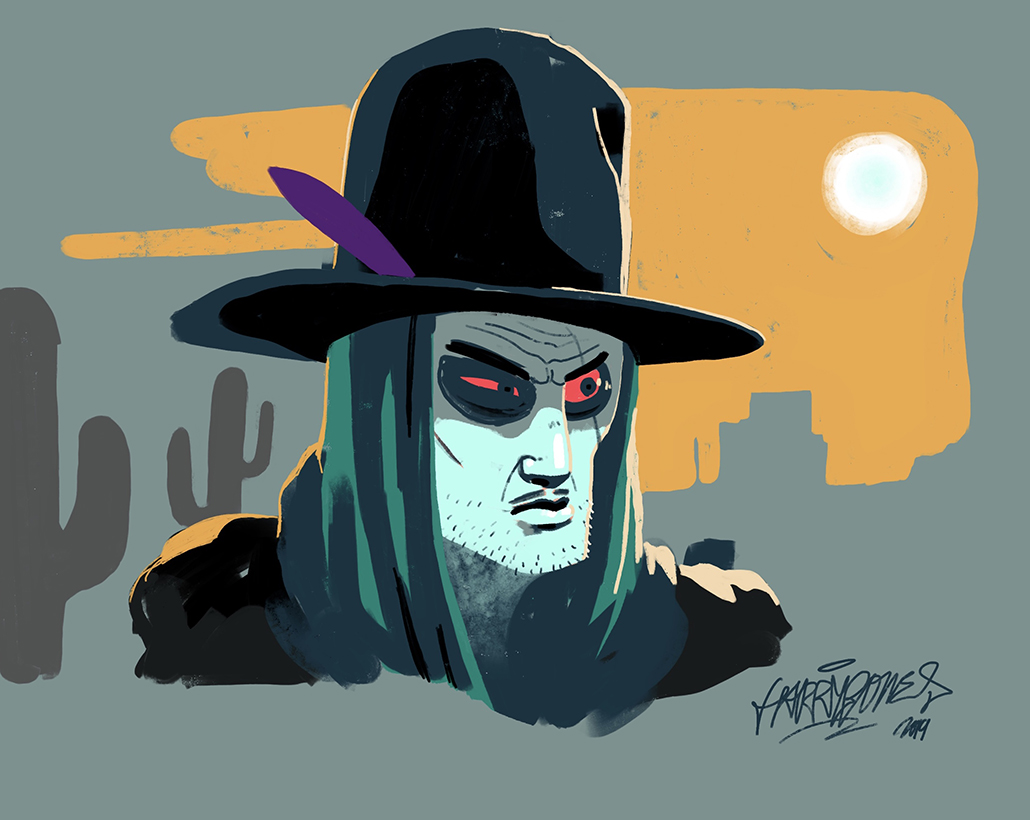 harrybones cowboy desert portrait procreate barcelona spain illustration photoshop