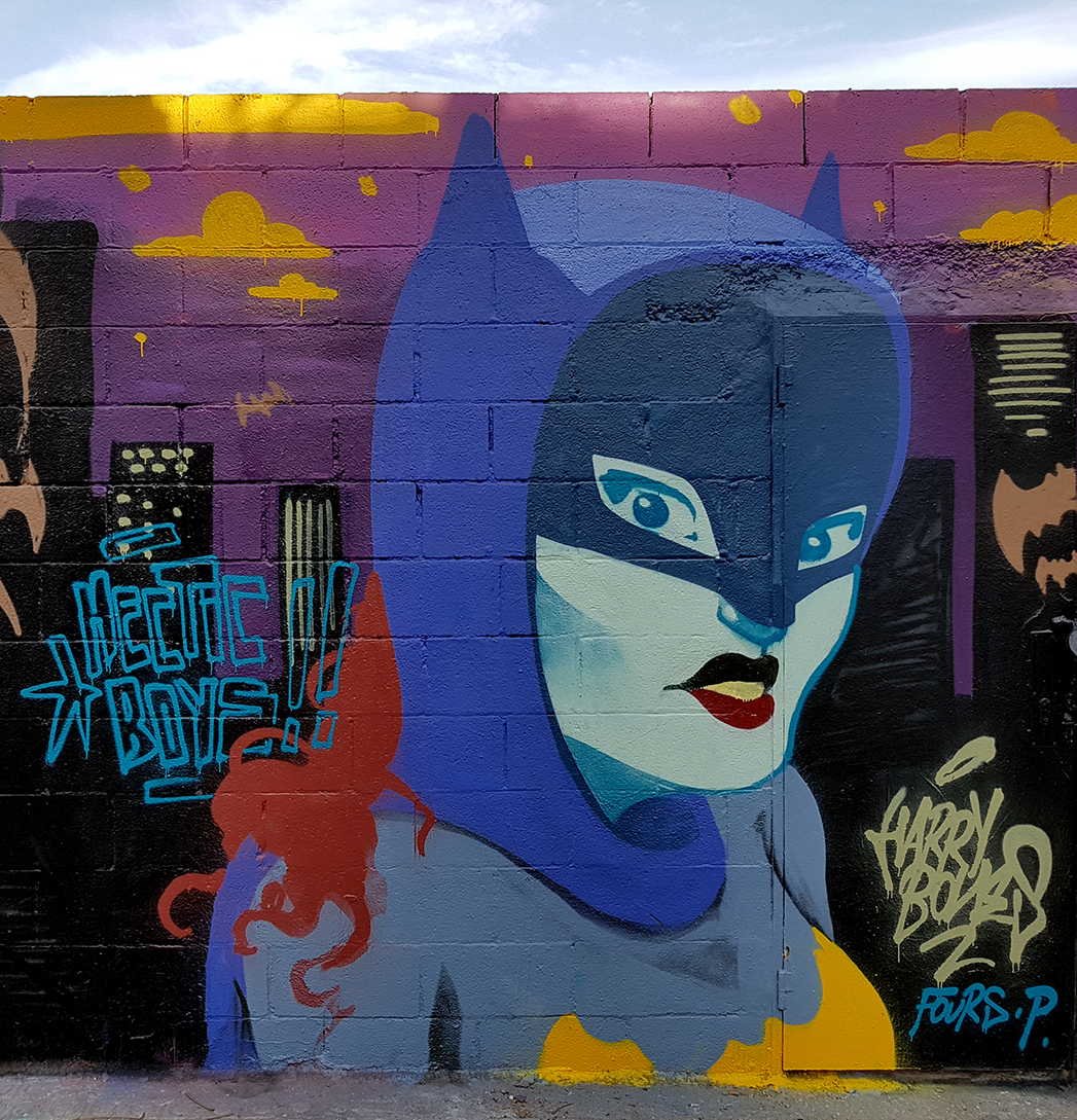harrybones graffiti barcelona street art mural hip hop trains city batgirl